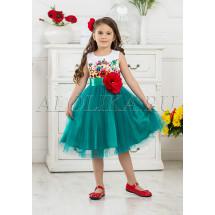 Платье нарядное изумрудное с большим цветком Моника