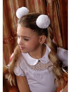 """Бант для волос белого цвета на резинке """"Снежок"""" (2шт)"""