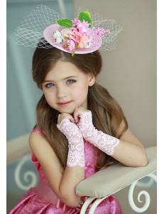 Митенки розовые кружевные на девочку Незнакомка (3-7 лет)