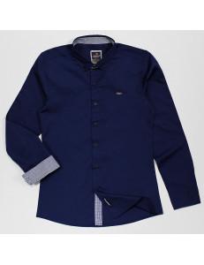 """Рубашка для мальчиков темно-синего цвета с контрастными деталями """"Бой"""""""